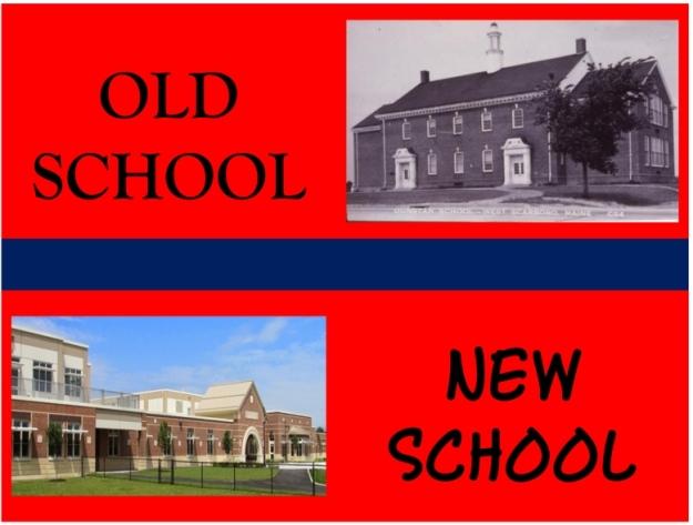 Upper right: Dunstan School, circa 1965. Lower left: Wentworth School, 2015.