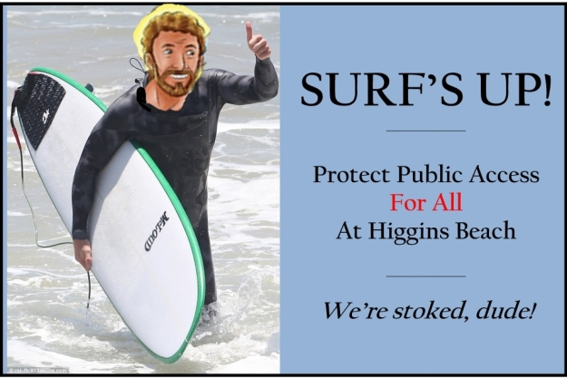 Saint Christopher, the patron saint of surfers, at Higgins Beach.  (He walked from St. Max's so parking wasn't an issue...)